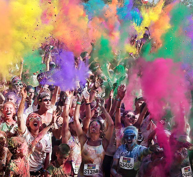 "Hue bet everyone just loves this 5K ""feel good happy event"" at Homebush Olympic Park in Sydney where contestants run through a station every kilometer and are doused with colored powders. (<bold>Bonus fact:</bold> This may be where the phrase ""take a powder"" originated.)"