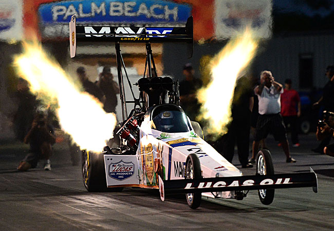 Brandon Bernstein led Top Fuel qualifying Thursday with a run of 3.761 seconds at a top speed of 325.22 mph.
