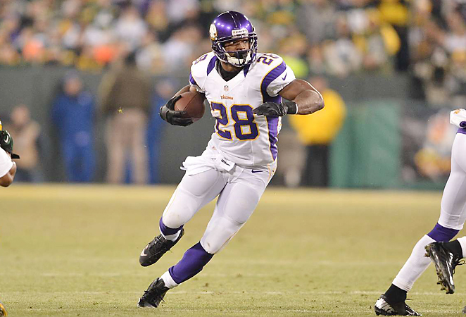 With help from the Vikings' bruising offensive line, Adrian Peterson ran for six yards per rush in 2012.