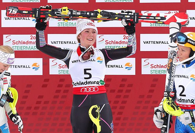 Mikaela Shiffrin became the youngest women's slalom world champion in 39 years on Saturday.