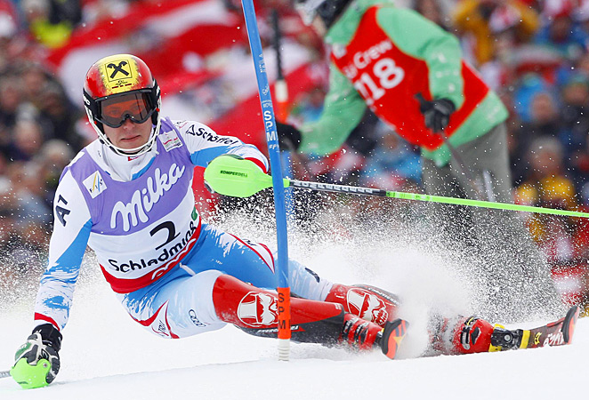 Marcel Hirscher held onto his first-run lead to finish in a combined time of 1 minute, 51.03 seconds.