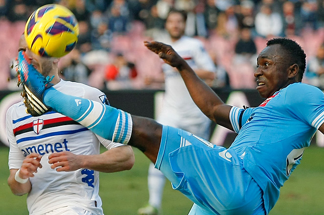 Pablo Armero tires to control the ball during Napoli's match with Sampdoria in San Paolo Stadium.