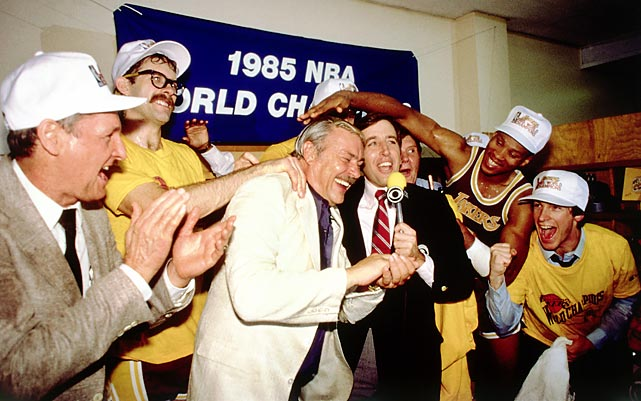 Buss celebrates with the Lakers after winning the 1985 NBA Finals over the Boston Celtics. Buss assembled a dynasty in Los Angeles with the Showtime era of the 1980s. Stars like Kareem Adbul-Jabbar would rebound the ball and feed it to Magic Johnson to start the fast break and find scorers like James Worthy for a layup or a dunk.