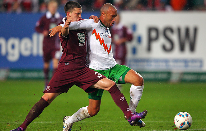 Mikael Silvestre (right) has played the last three seasons for Werder Bremen of the German Bundesliga.