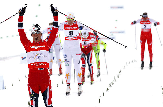 Norway's Marit Bjoergen also won the individual sprint world title in 2003 and '11.