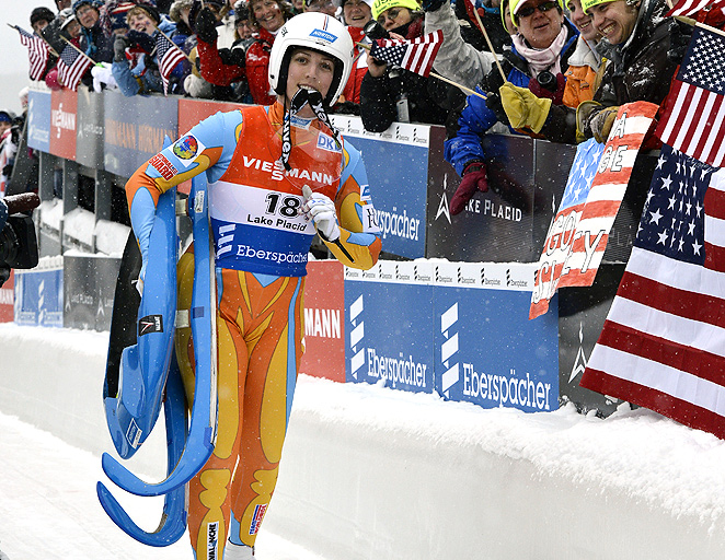 The luge sleds, like the one carried here by Erin Hamlin, cost between $400 and $600.