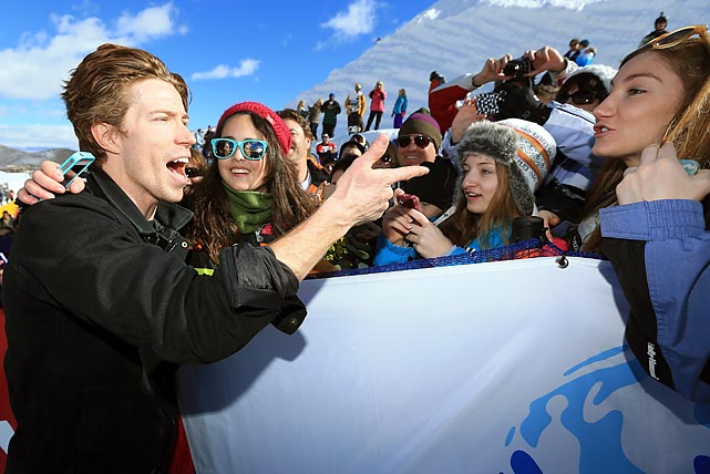 Sporting his bold, fresh new look, Shorn White chatted up admirers after winning the FIS Snowboard Halfpipe World Cup at Park City Mountain in Park City, Utah.