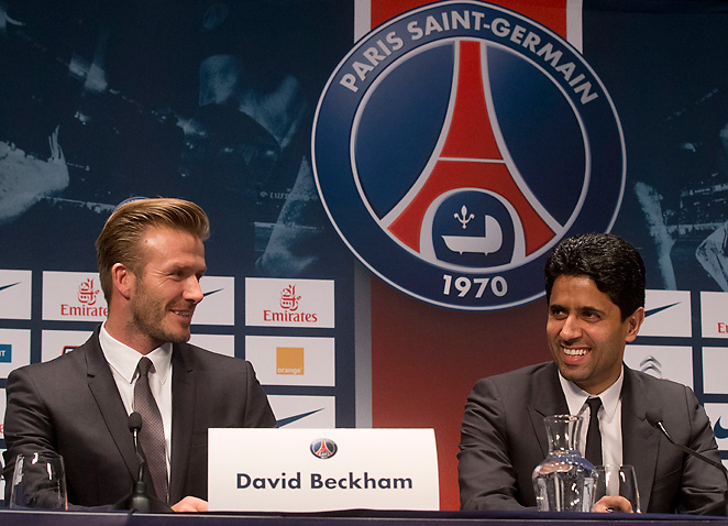 David Beckham, pictured with team president Nasser Al-Khelaifi, may debut on Sunday against Marseille.