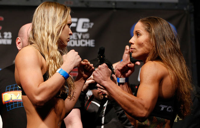 Ronda Rousey (left) has defeated five of her last six opponents by submission in the first minute.