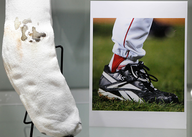 Curt Schilling decided to auction one of his bloody socks from 2004 MLB playoffs.