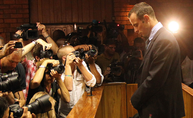 Oscar Pistorius, shown here at a hearing Thursday, was the release the next day on bail.