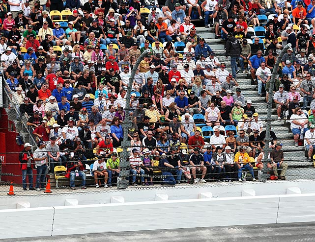 Fans sit in the area where 28 people were injured during the previous day's Nationwide race.