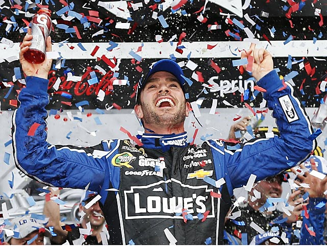 Jimmie Johnson celebrates his second Daytona 500 victory.