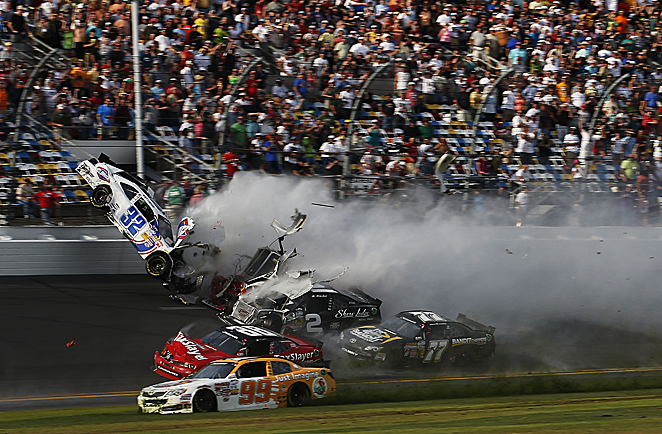 Some fans filmed Kyle Larson's car as it sailed into the air and parts flew into the stands, but NASCAR tried to take the videos down.
