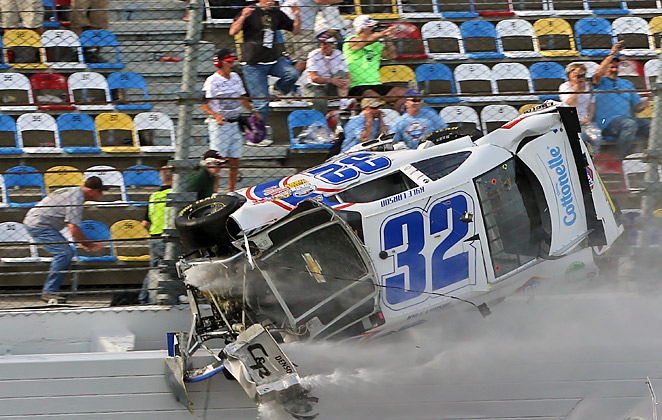 Debris from Kyle Larson's car flew into the stands during Saturday's Nationwide race at DIS.