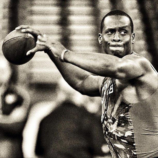 West Virginia QB Geno Smith during drills at the #NFLCombine.