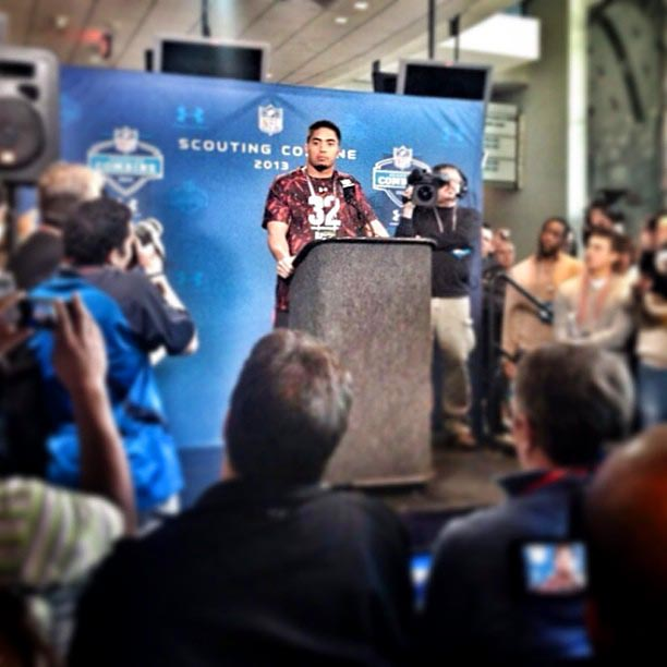 Manti Te'o takes questions from the media at the #NFLCombine.