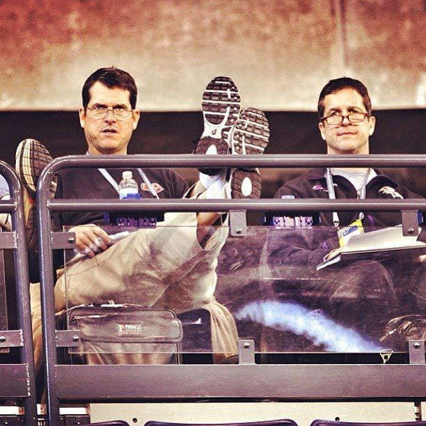 The Harbaugh brothers at the #NFLCombine.