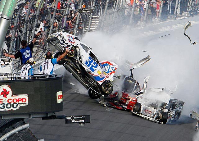 Kyle Larson's car goes airborne during a multi-car wreck on the final lap of a NASCAR Nationwide Series race at Daytona International Speedway on Feb. 23. The wreck, which occurred one day before the Daytona 500, sent a tire, car parts and debris flying into the stands, injuring at least 33 fans, including two who were initially in critical condition.