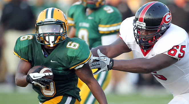 Glenville (Ohio) High's lineman Marcelys Jones (65) is one of Ohio State's early high-profile recruits.