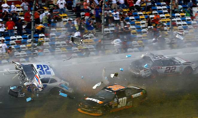 ESPN claims to have only showed one replay of the Nationwide wreck in order to respect the fans injured in the stands.