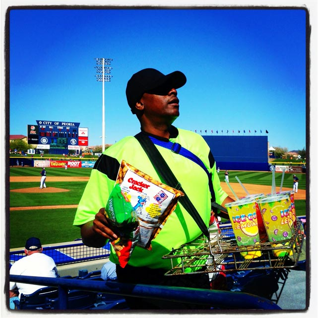 Vendor at the Royals and Padres spring training game in Peoria.