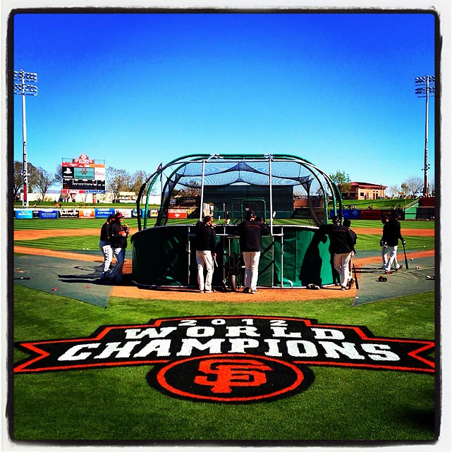 The Giants take batting practice before their spring training game against the White Sox in Scottsdale.
