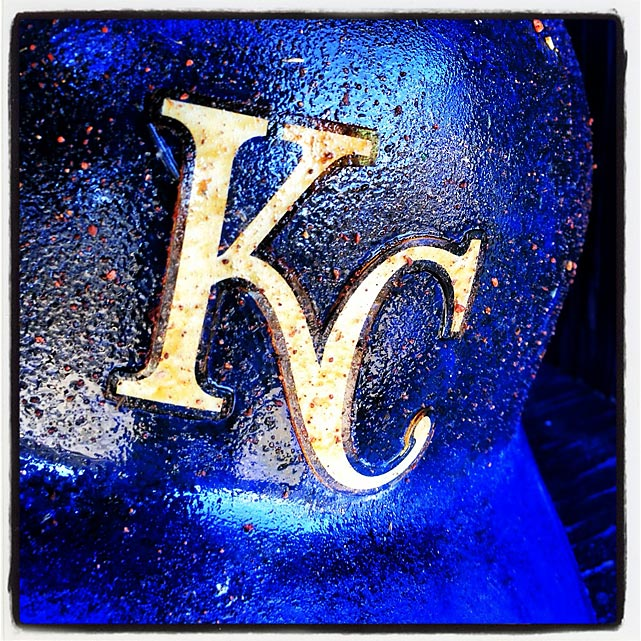 Royals batting helmet in the dugout before a spring training game against the Padres in Peoria.