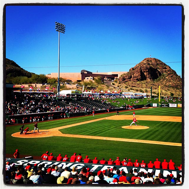 A pretty day in Tempe for a spring training game between the Dbacks and Angels.