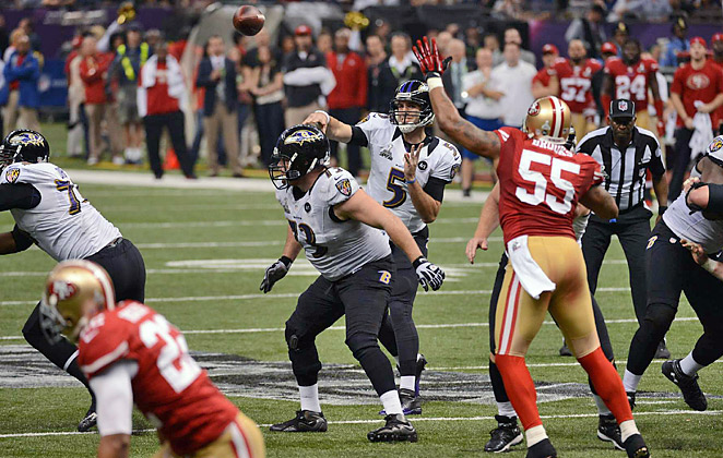 Joe Flacco threw for three touchdowns in the Ravens' 34-31 win over the Niners in SB XLVII.