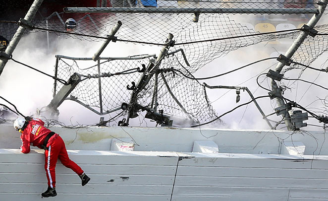 The catch fence at Daytona Speedway after Kyle Larson's car crashed into it on February 23.