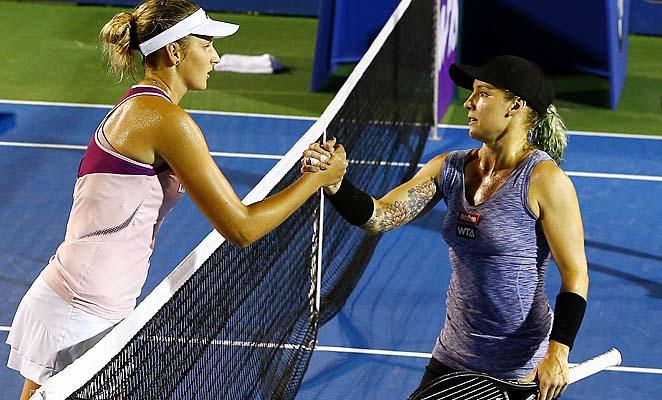Karolina Pliskova (left) shakes hands with Bethanie Mattek-Sands after their singles final.