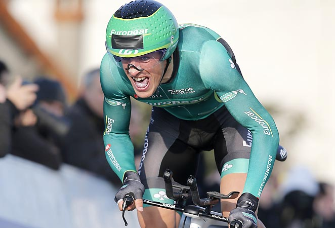 France's Damien Gaudin cycles to wins the prologue of Paris-Nice.