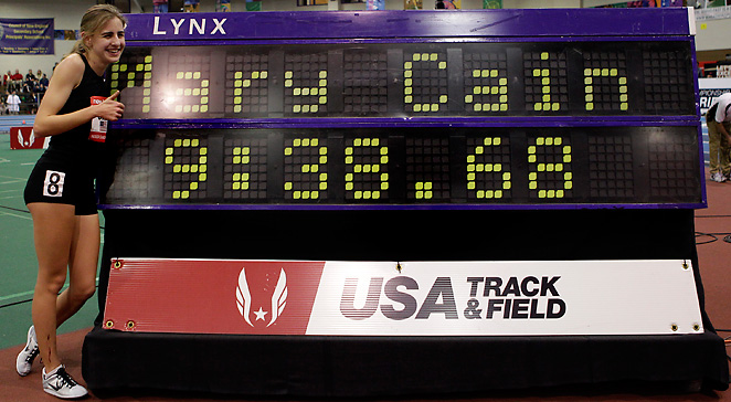 16-year old Mary Cain became the first high schooler to win at the indoor championships since 2003.