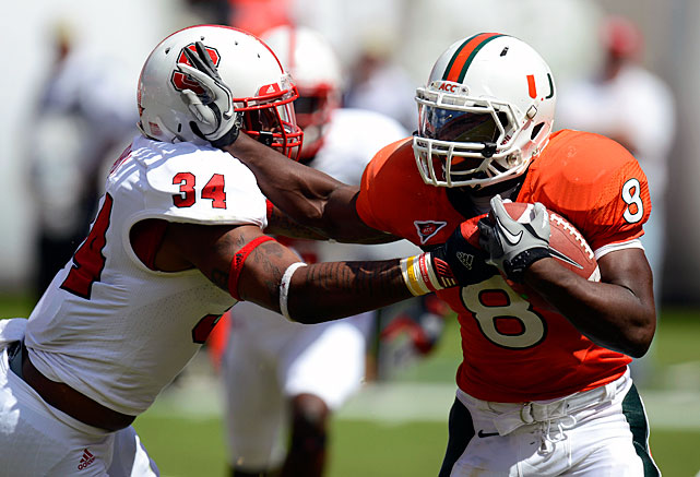With Mike James now out of the picture, Johnson figures to be the primary workhorse for Miami's rushing attack. Johnson averaged 6.8 yards per carry as a true freshman, and he gained 947 yards on the ground. He'll also likely figure more prominently into the Hurricanes' passing game -- where he caught 27 balls for 221 yards last season -- and continue to serve as a lethal kick returner on special teams.