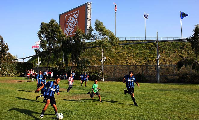 Children play soccer outside the Home Depot Center, home of the Galaxy and Chivas USA.