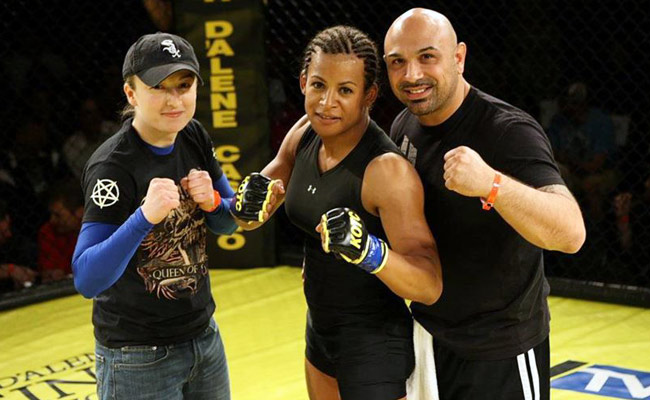 Fallon Fox (center) won her professional debut at a King of the Cage event in Idaho last May.