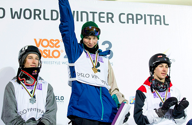U.S. freestyle skiers David Wise and Torin Yater-Wallace (left) celebrate their gold and silver medals, respectively, at the world freestyle skiing championships.