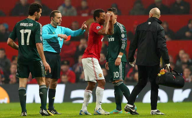 Nani reacts after being sent off during Tuesday's Champions League match against Real Madrid.