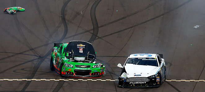 A blown tire ended Danica Patrick's day at Phoenix as her Sprint Cup learning experience continued.