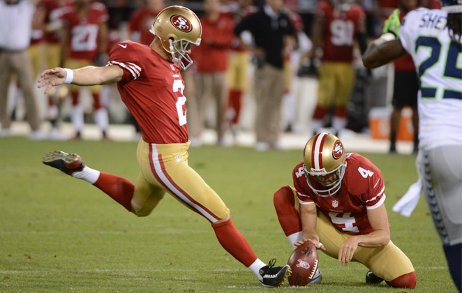 David Akers was 73 for 94 on field goal attempts the last two years in San Francisco.