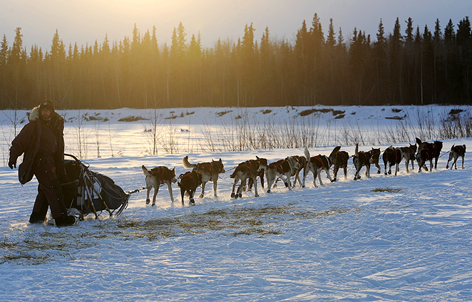 Musher Robert Bundtzen and his team pull away from an Iditarod checkpoint.