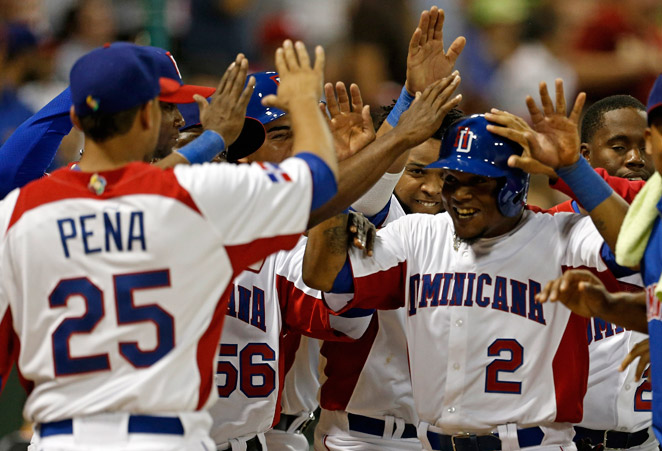 Erick Aybar (2) and the Dominican Republic bashed out 13 hits in their first-round win over Venezuela.