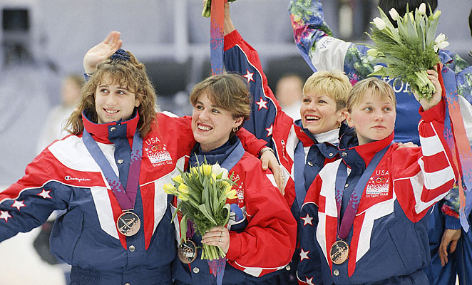 Nikki Meyer, far right in this 1994 photo, is the latest former speedskater to accuse Andy Gabel of rape.