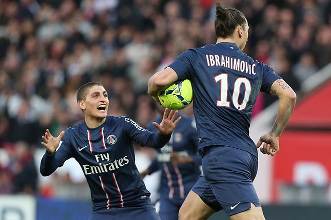 Zlatan Ibrahimovic is congratulated by midfielder Marco Verratti after Ibrahimovic scoring his second goal.