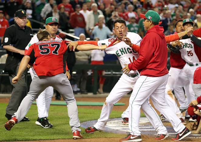 A hit-by-pitch sparked a full-scale fight between Mexico and Canada during Saturday's WBC action.