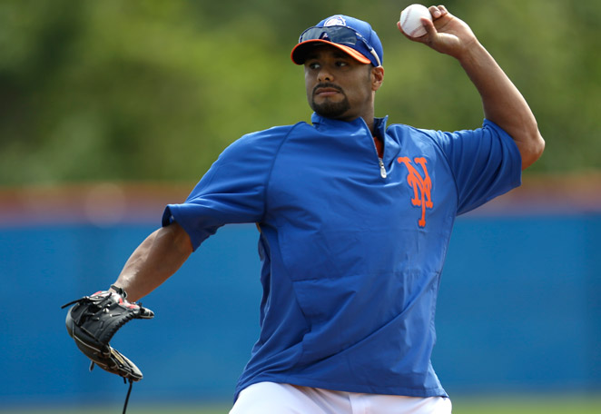Johan Santana, currently sidelined with a shoulder injury, is unlikely to be ready by Opening Day.