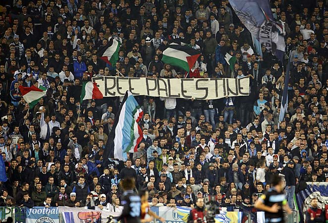 Lazio fans have held up controversial banners before, such as this one earlier this season.