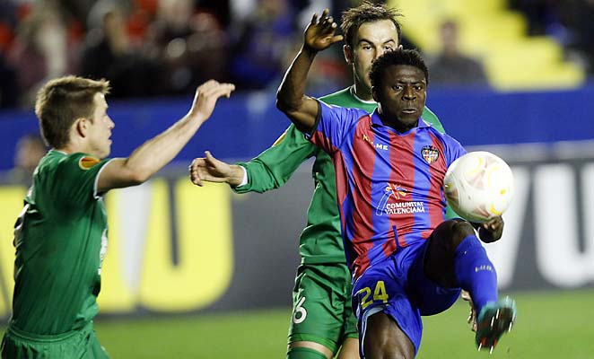 Obafemi Martins and Levante were in 10th place in La Liga.