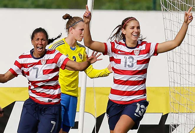 Alex Morgan (right) and the U.S. will play Germany for the championship on Wednesday.